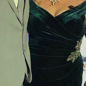 Stunning Full length emerald green velvet gown
